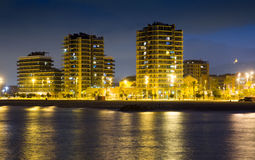Modern apartment buildings at  coast.  Badalona Royalty Free Stock Photo