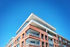 Modern apartment buildings exteriors. Architectural details of modern apartment building Royalty Free Stock Image