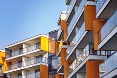 Modern apartment buildings exteriors Royalty Free Stock Image