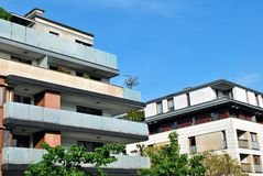 Modern apartment buildings exteriors Stock Photos