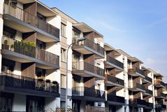 Modern apartment buildings exteriors Stock Images