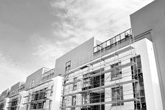 Modern apartment buildings exteriors. Black and white. Facade of a modern apartment building. Black and white Stock Photography