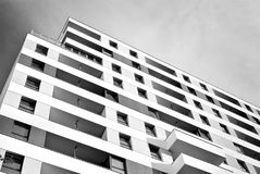 Modern apartment buildings exteriors. Black and white Royalty Free Stock Photo