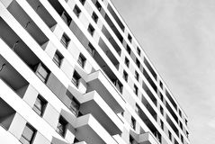 Modern apartment buildings exteriors. Black and white Royalty Free Stock Photography
