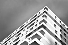 Modern apartment buildings exteriors. Black and white Stock Photos