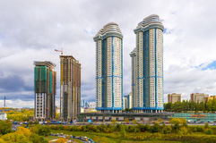 Modern apartment buildings in the new district of Moscow Royalty Free Stock Image