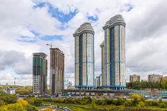 Modern apartment buildings in the new district of Moscow Stock Photos