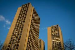 Modern apartment buildings, New York City. Modern apartment buildings with orange exterior, New York City Stock Photography