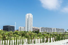 Modern apartment buildings beside a park, Spain Royalty Free Stock Photo