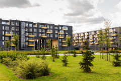 Modern apartment buildings. Modern urban black apartment buildings Royalty Free Stock Photos