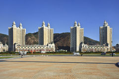 Modern, apartment buildings, Xinghai Square, Dalian, China and a pond Stock Photography