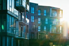 Modern apartment flat building exterior sunflare. Concept. Sunshine sun flare stock images