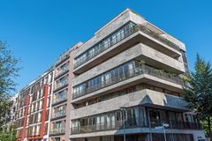 Modern apartment house with a concrete facade. Seen in Berlin, Germany stock images