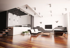 Modern apartment interior 3d Stock Photos