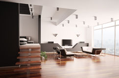 Modern apartment interior 3d Royalty Free Stock Photo