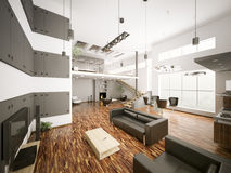 Modern apartment interior 3d Stock Photo