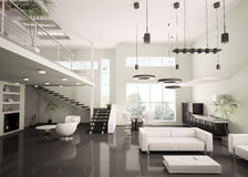 Modern apartment interior 3d render Royalty Free Stock Image