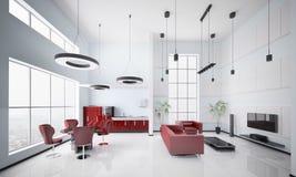 Modern apartment interior 3d render Stock Photography