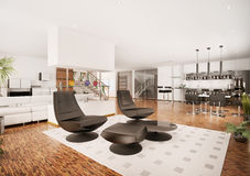 Modern apartment interior 3d render Stock Photography