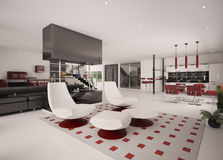 Modern apartment interior 3d render Stock Photo