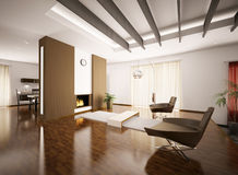 Modern apartment interior 3d render. Modern apartment interior with fireplace 3d render Stock Photo