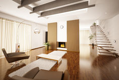 Modern apartment interior 3d render. Modern apartment interior with fireplace and staircase 3d render Royalty Free Stock Photography
