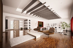 Modern apartment interior 3d render Royalty Free Stock Photo