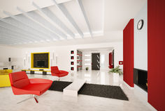 Modern apartment interior 3d render Royalty Free Stock Photography