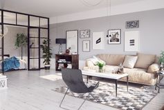 Modern apartment interior. Royalty Free Stock Photo