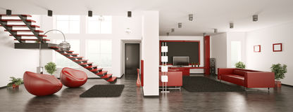 Modern apartment interior panorama 3d Stock Image