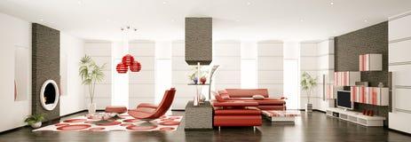 Modern apartment interior panorama 3d Stock Photo