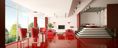 Modern apartment interior panorama 3d render Royalty Free Stock Image