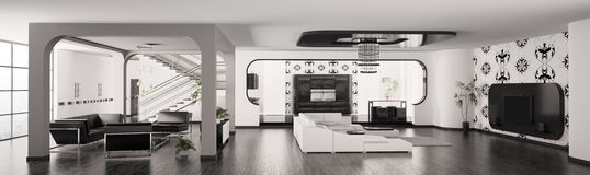 Modern Apartment interior panorama 3d render Stock Photos