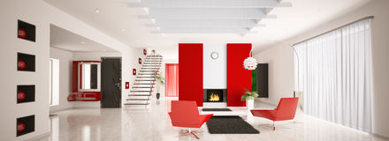 Modern apartment interior panorama 3d render Royalty Free Stock Photo
