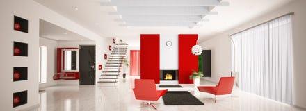 Modern apartment interior panorama 3d render Royalty Free Stock Photo