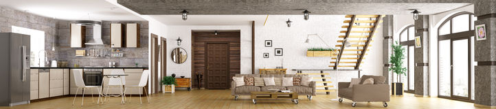 Modern apartment interior panorama 3d render Royalty Free Stock Photography