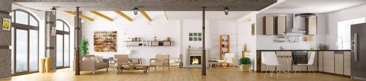 Modern apartment interior panorama 3d render Stock Photos