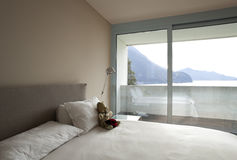 Modern apartment interior view. Bedroom Royalty Free Stock Photos