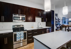Modern Apartment Kitchen. Dark wood cabinets accent this modern home kitchen remodel. Stainless steel appliances and fixtures with light colored counter tops and Stock Photography