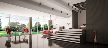 Modern apartment panorama 3d Royalty Free Stock Photography
