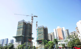 Modern apartment under construction Royalty Free Stock Photo