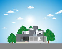 Modern Apartment. Vector illustration of modern apartment on the sky design background with trees Royalty Free Stock Images