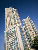 Modern apartments building. Tall, modern apartments building, typical South Korean architecture Royalty Free Stock Images
