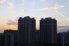 Modern apartments buildings outline. Beautiful sunset light with modern apartment buildings in Shanghai China Stock Photos