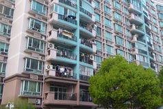 Modern apartments buildings with trees in the front  in Shanghai Royalty Free Stock Photo