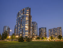 Modern Apartments in a city urban area in early night Royalty Free Stock Photos