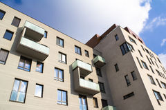 Modern apartments. Detail of modern apartments with balconies from exterior royalty free stock images
