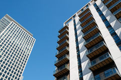 Modern apartments and office building. Modern executive flats and office building in Canary Wharf, London stock image