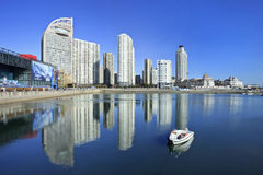 Modern apartments at the seashore in Dalian, China Stock Images