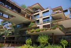 Modern Apartments with Sky Walk. Apartment building or luxury condo with sky walk and environmentally friendly hanging gardens Stock Photos